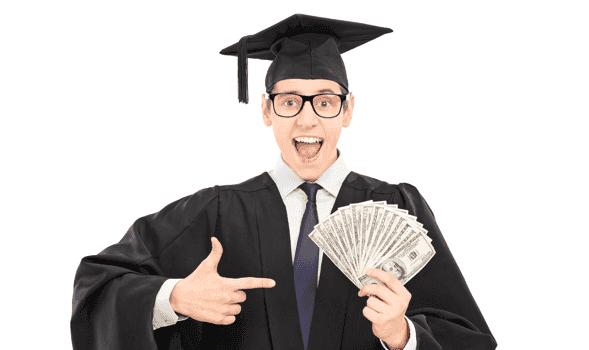 Merit Aid - Grad holding money