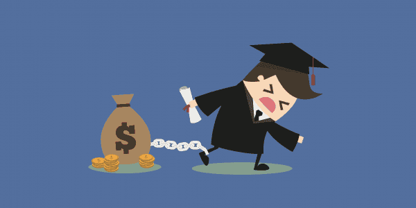Paying for College - College grad chained to money
