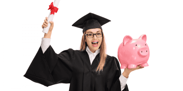 College graduate holding a diploma and a piggy bank.