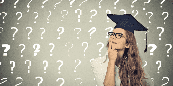 Woman thinking with question marks in background wearing college gradation cap