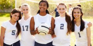 A group of female soccer players.