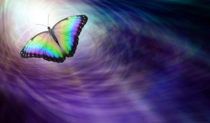 Butterfly causing ripple effect with wings.