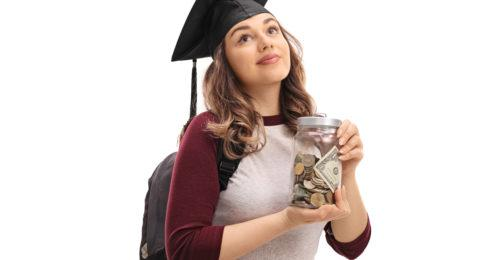 A college student holding a jar of money.
