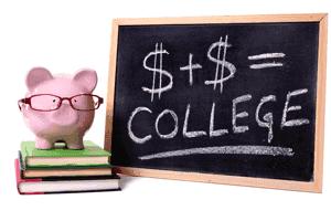 College financial planning - Piggybank and blackboard
