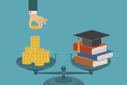 Vector concept of investment in education with coins books and scales